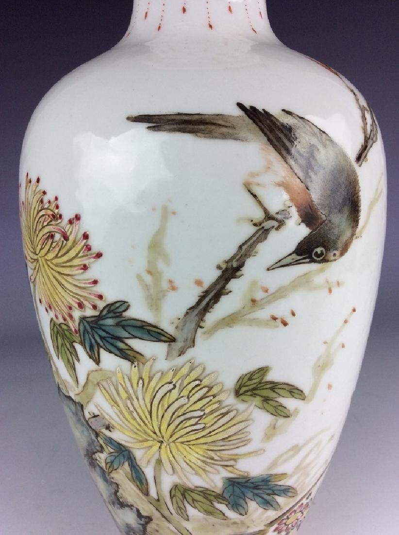 Chinese vase with bird chrysanthemum and calligraphy - 3