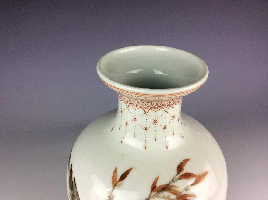 Chinese vase with bird chrysanthemum and calligraphy - 5