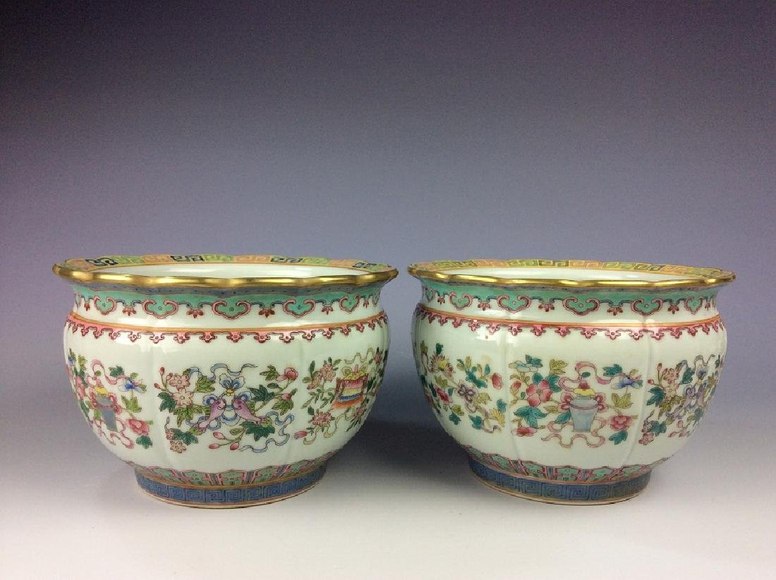 Pair of Chinese pots with eight auspicious - 3