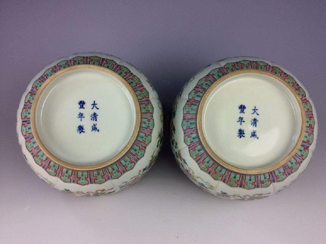Pair of Chinese pots with eight auspicious - 4