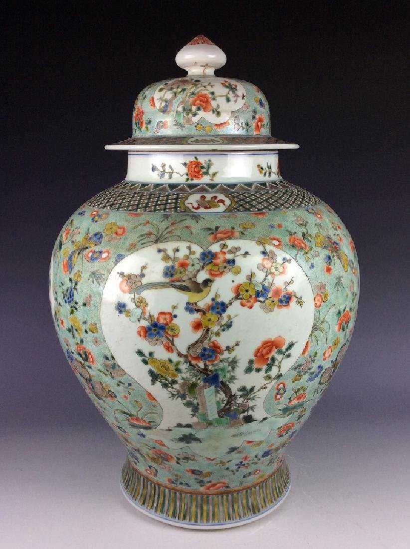 19C Large vintage Chinese porcelain jar with cover,