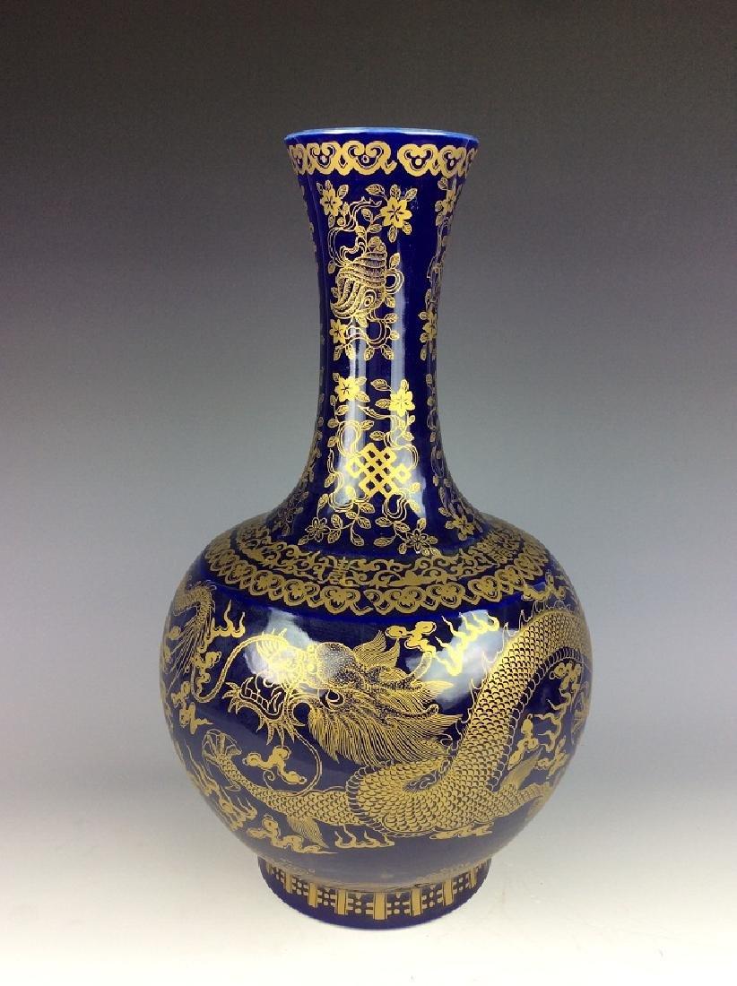 Large Chinese blue ground glaze porcelain vase, - 2