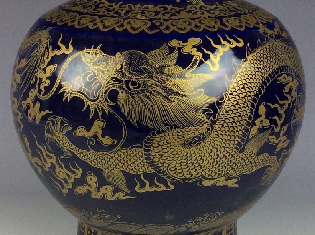 Large Chinese blue ground glaze porcelain vase, - 3
