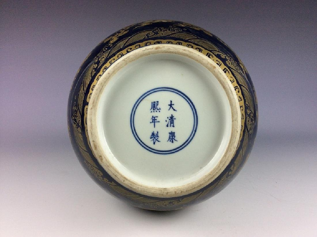 Large Chinese blue ground glaze porcelain vase, - 5