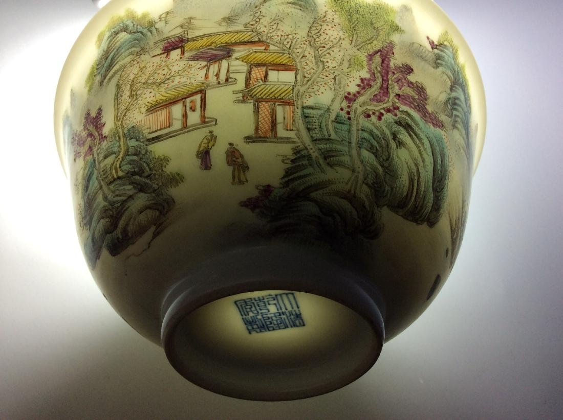 Elegant Chinese bowl with landscaping mark