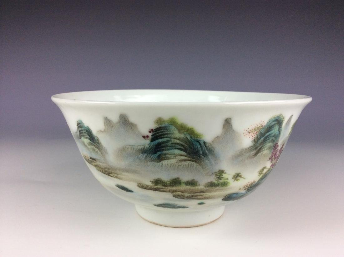 Elegant Chinese bowl with landscaping mark - 3