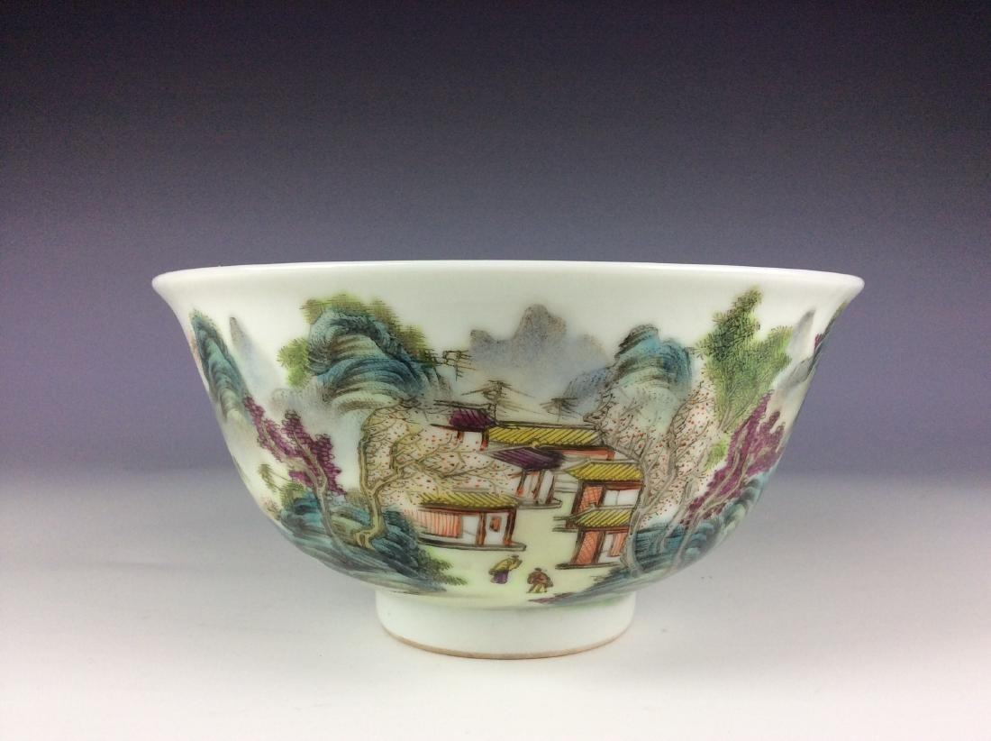 Elegant Chinese bowl with landscaping mark - 4