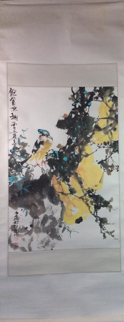 Chinese painting, hand painted scroll, - 2