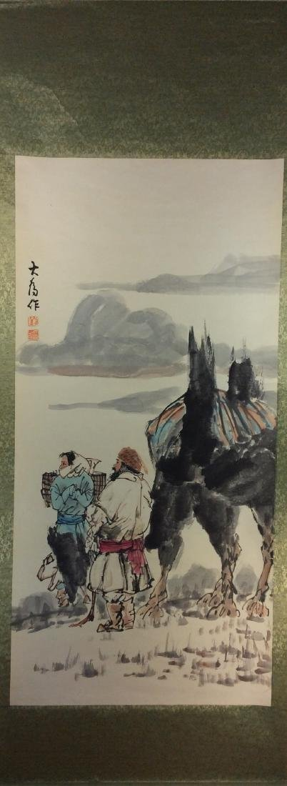 Chinese hand painted hanging scroll, with figures and - 2