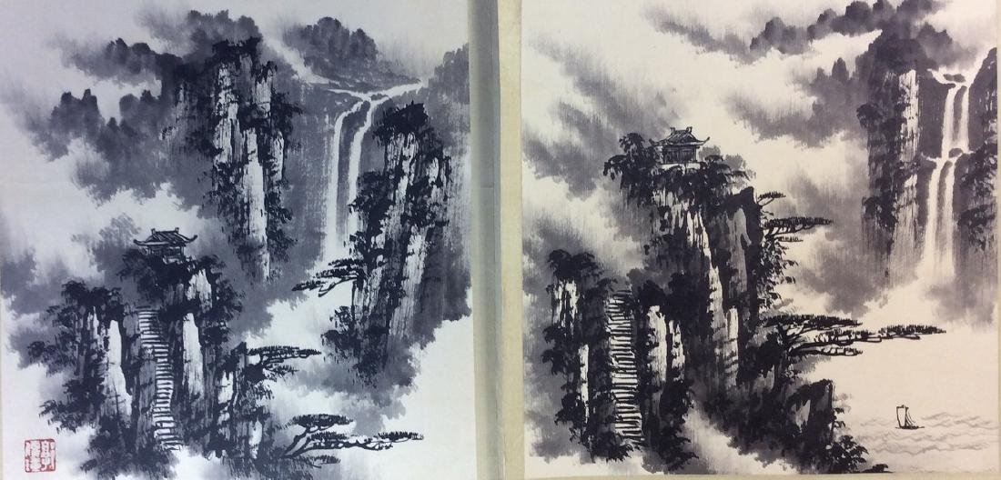 Chinese painting, hand painted leaves, 8 ndividual