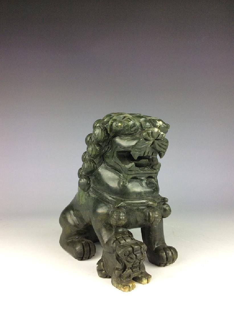 Fine Chinese nephrite, Hetian green jade,  carved lions