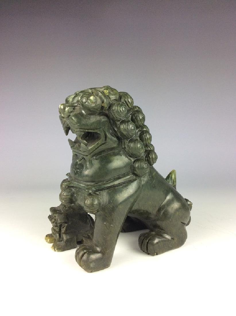 Fine Chinese nephrite, Hetian green jade,  carved lions - 2