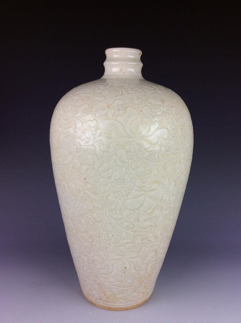 Chinese pottery vase with floral interlocking branch