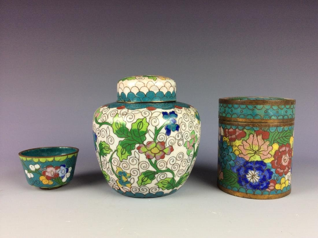 Set of 3  Chinese metal base cloisonne pots and cup