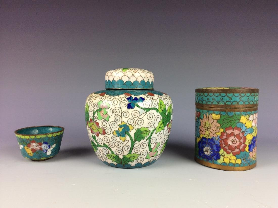 Set of 3  Chinese metal base cloisonne pots and cup - 2