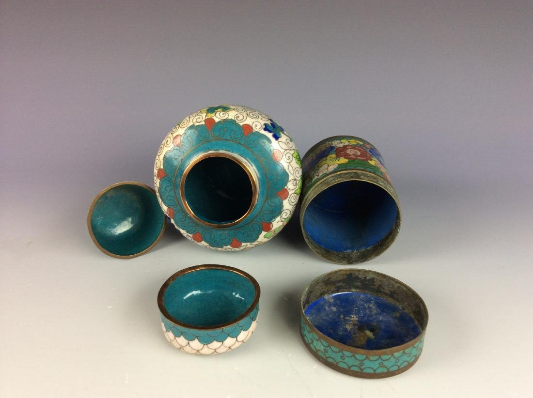 Set of 3  Chinese metal base cloisonne pots and cup - 3