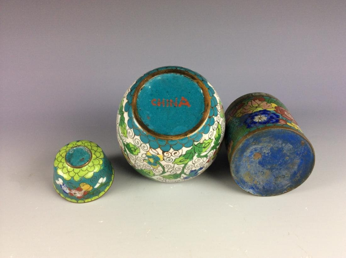 Set of 3  Chinese metal base cloisonne pots and cup - 4