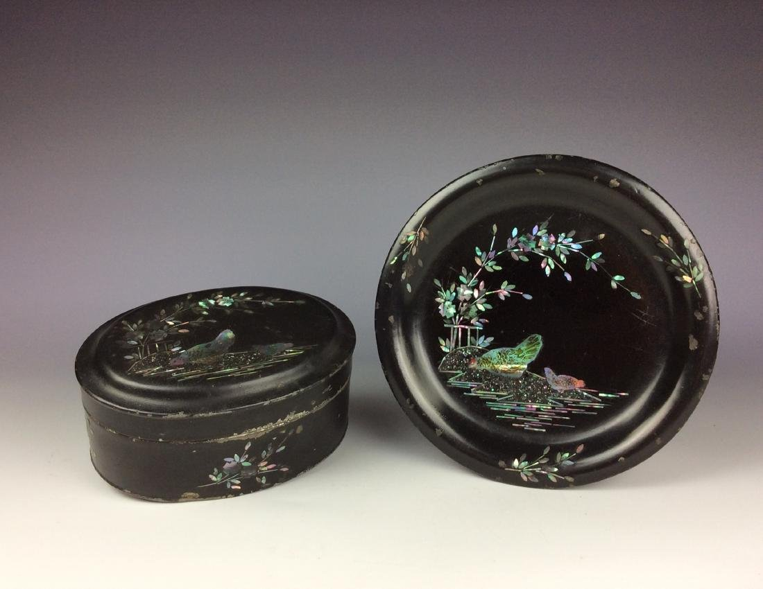 Chinese lacquer box and plate mother- of- pearl inlay