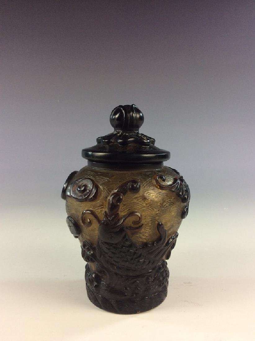 Vintage Chinese cased Peking glass lidded jar with