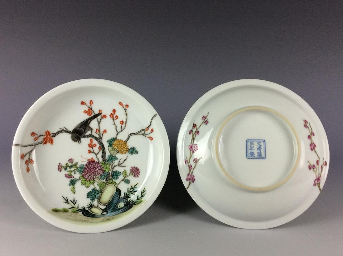 A pair of Chinese porcelain saucers with mark
