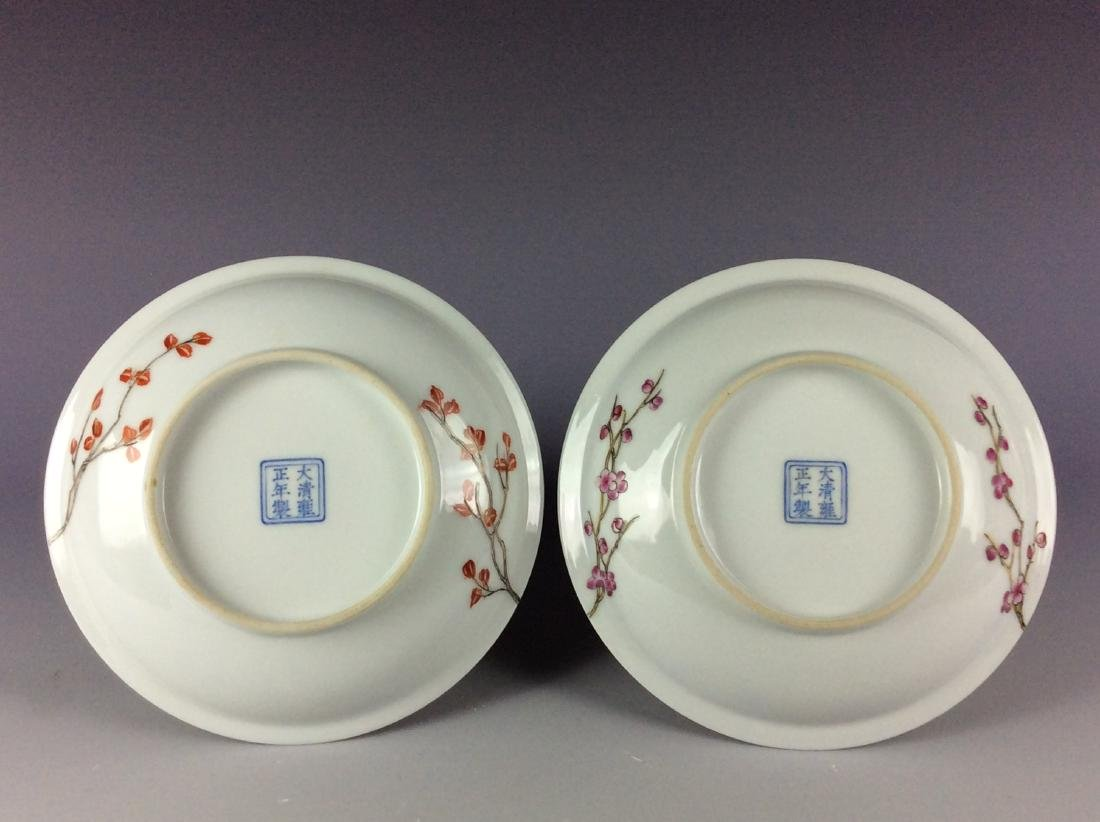A pair of Chinese porcelain saucers with mark - 3