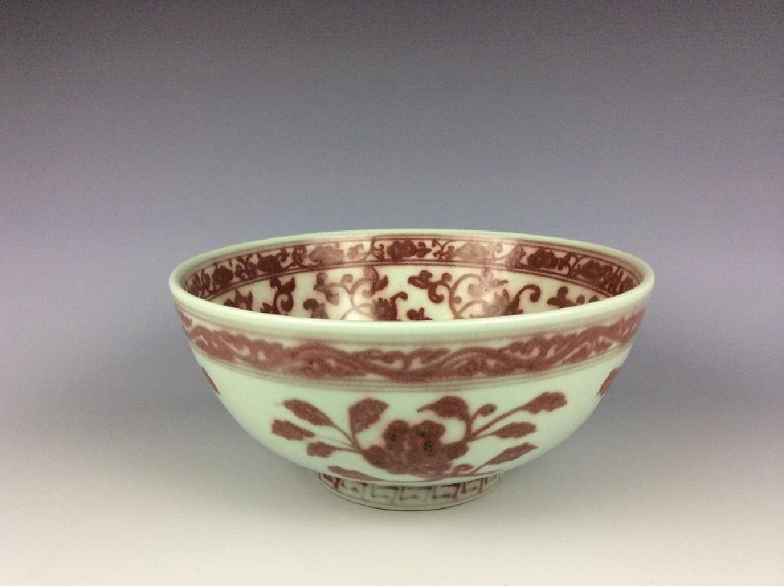 Large Chinese porcelain bowl, underglazed red glazed,