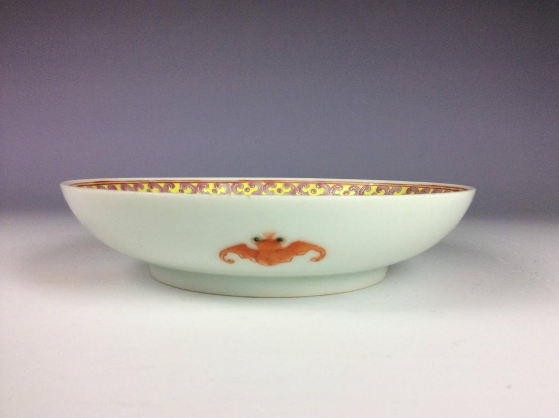 Beautiful Chinese porcelain plate, famille rose glazed, - 3