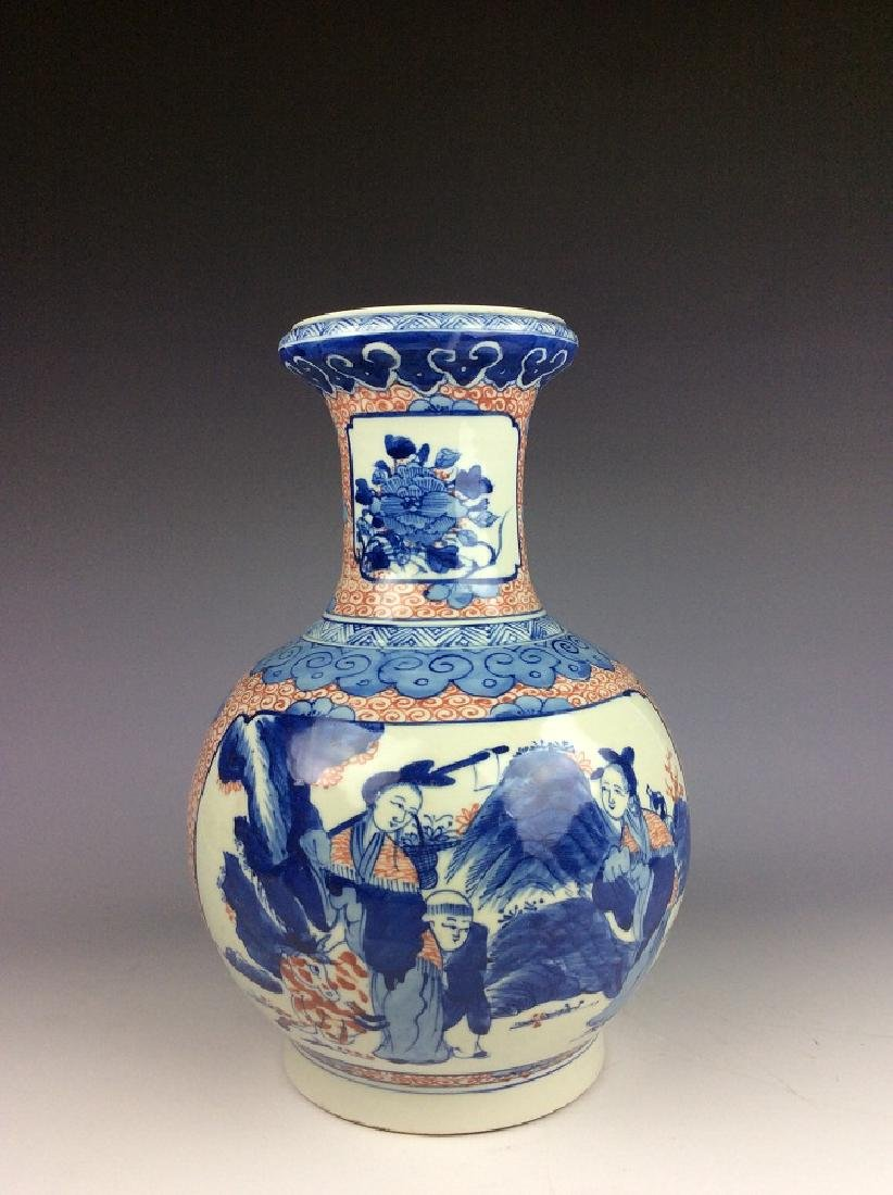 Chinese porcelain vase , underglaze-red with blue & - 2
