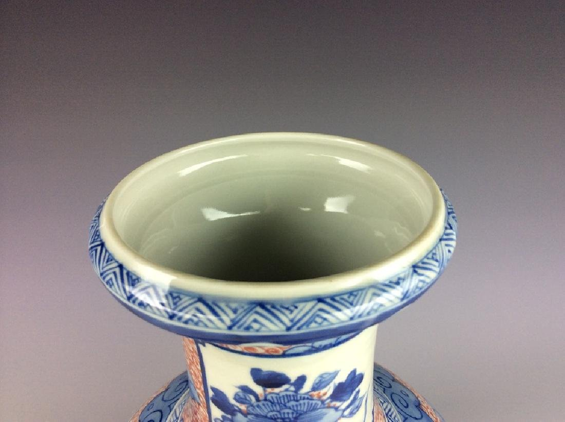 Chinese porcelain vase , underglaze-red with blue & - 3
