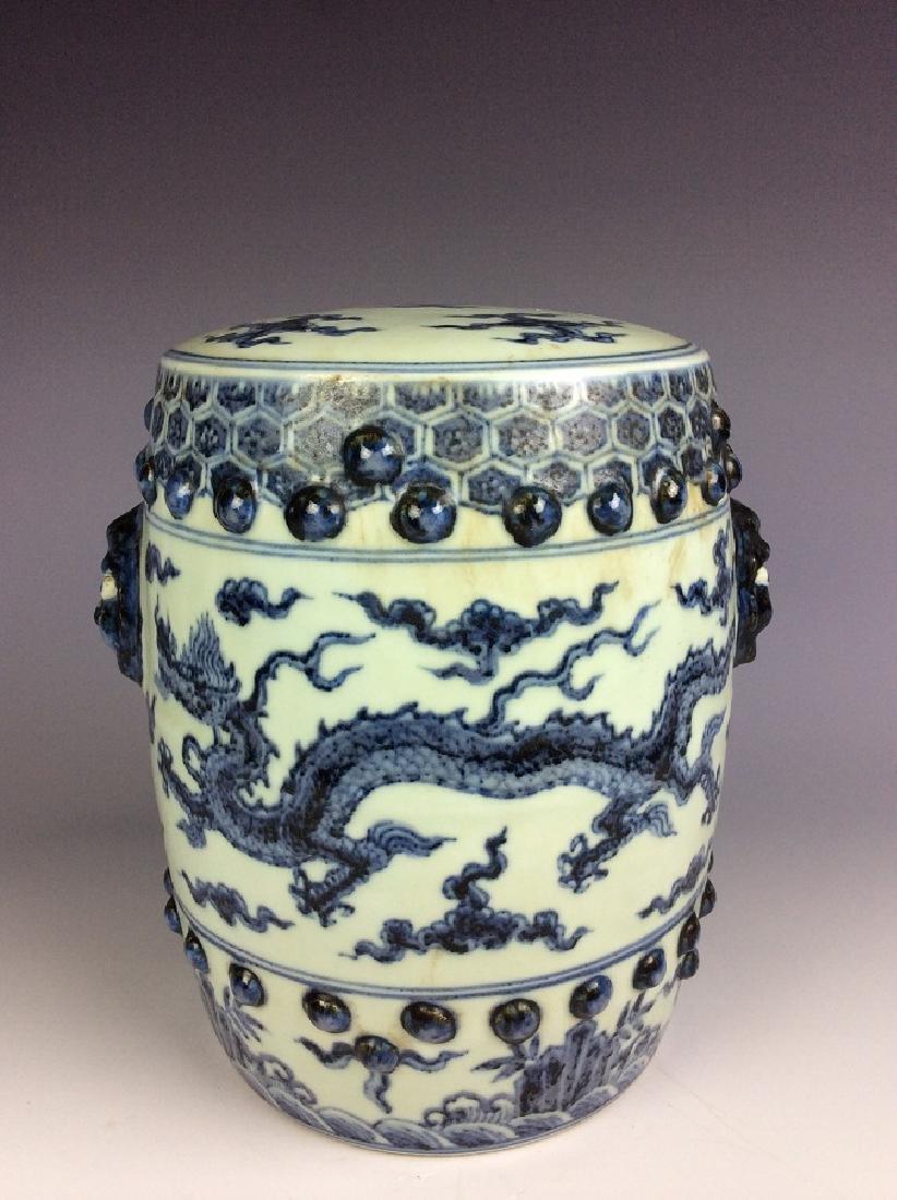 Ming style Chinese porcelain stool, blue & white - 2