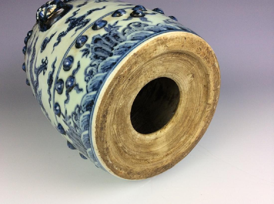 Ming style Chinese porcelain stool, blue & white - 5