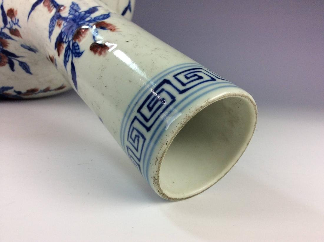 Vintage Chinese porcelain vase, blue & white with - 4