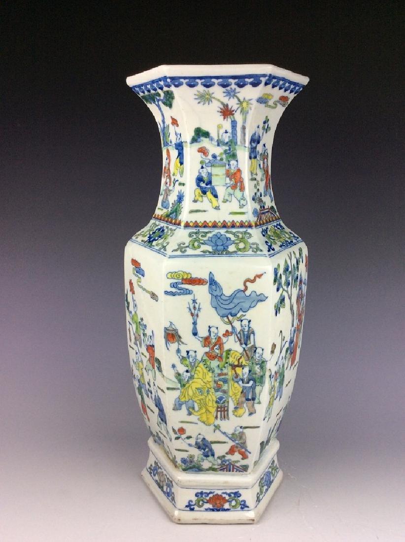 Large Chinese  porcelain vase, famille rose glazed,