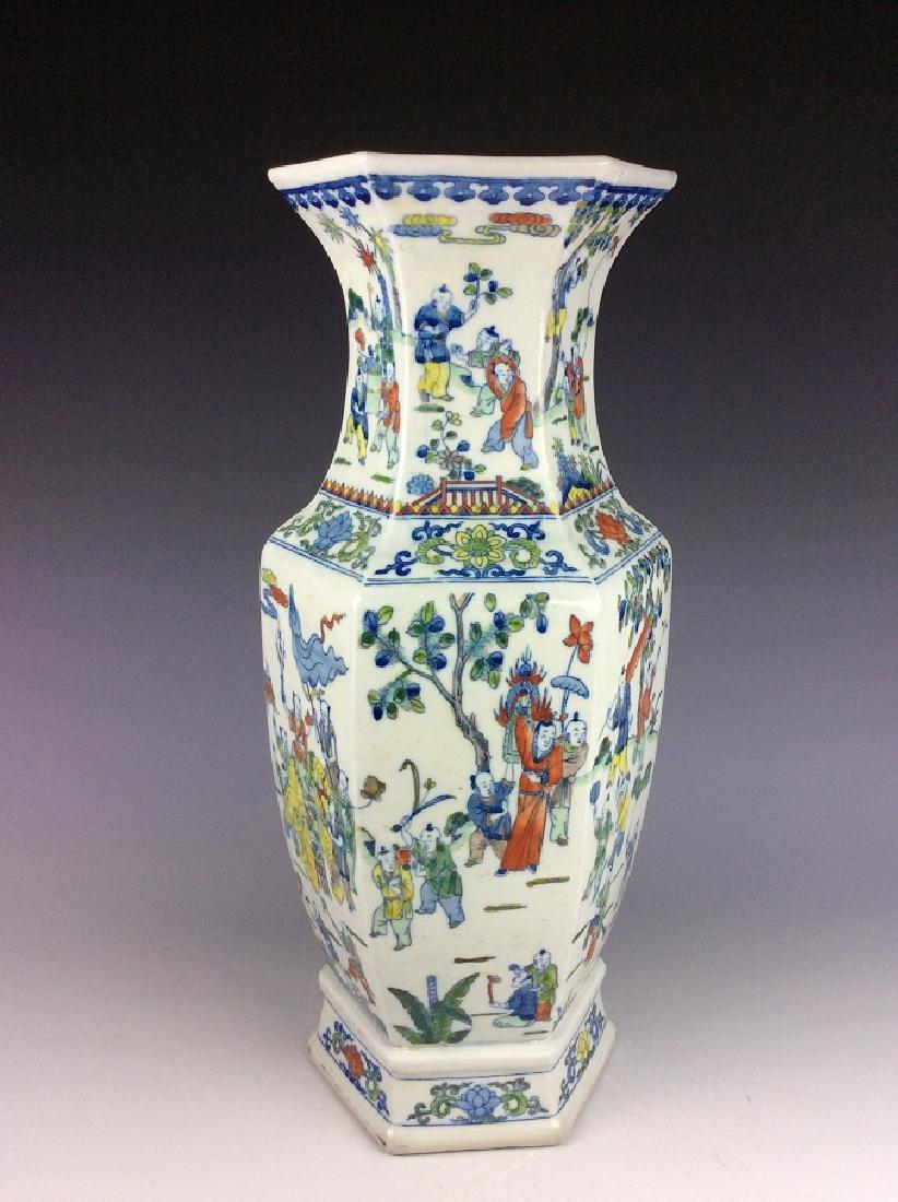 Large Chinese  porcelain vase, famille rose glazed, - 3