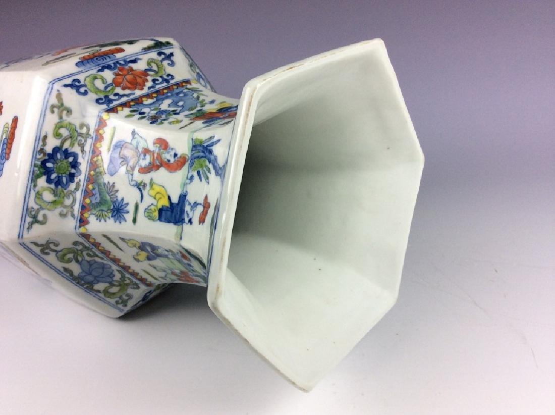 Large Chinese  porcelain vase, famille rose glazed, - 4