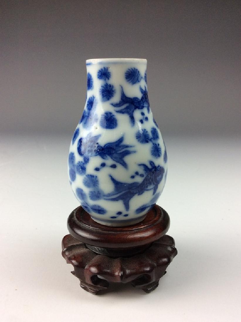 Fine Chinese porcelain vase, blue & white glaze, - 3