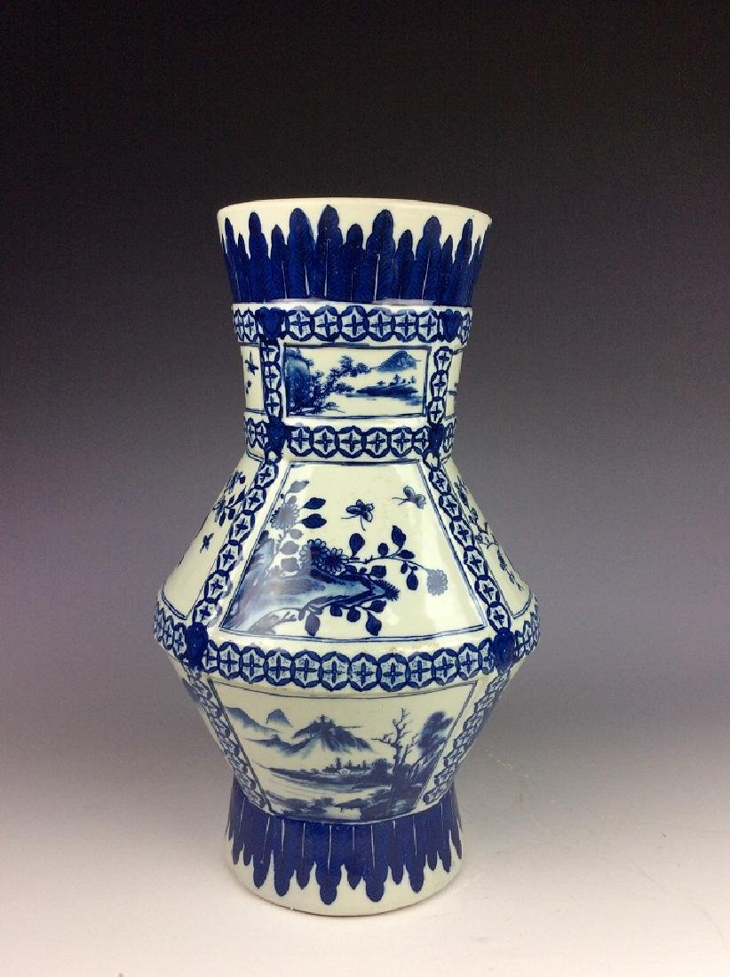 Chinese porcelain vase, blue & white glazed, decorated