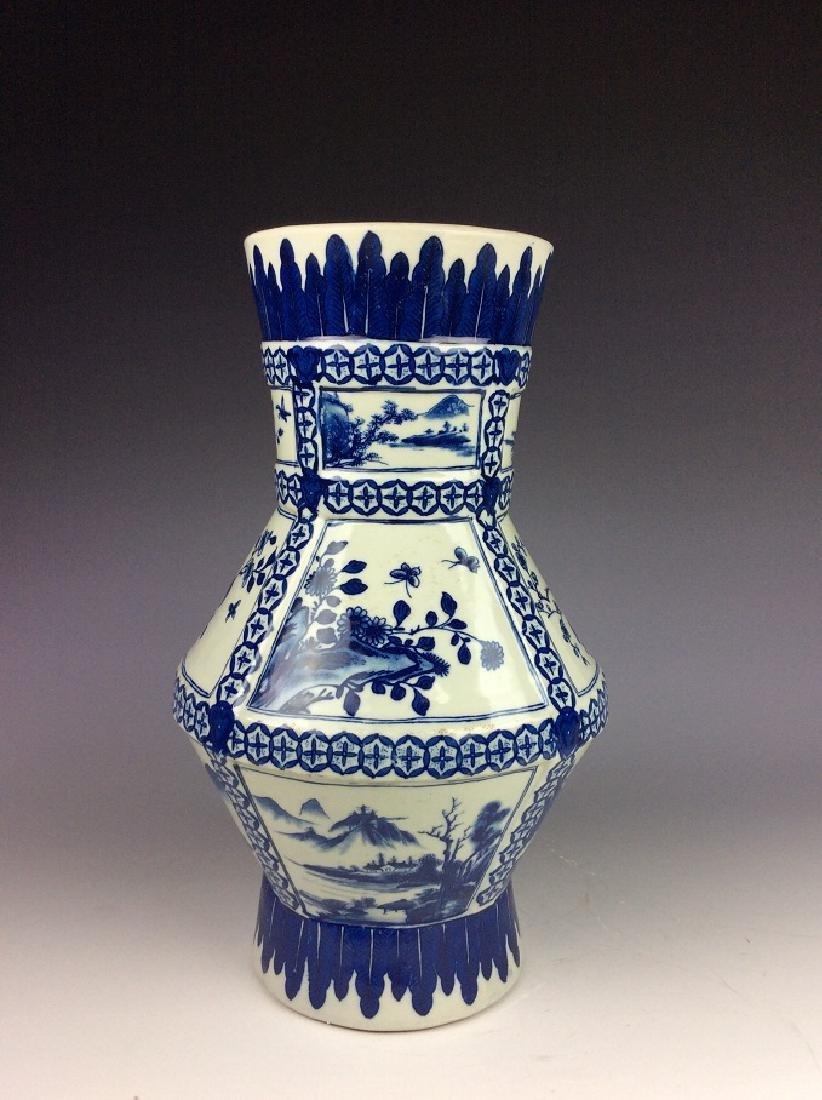 Chinese porcelain vase, blue & white glazed, decorated
