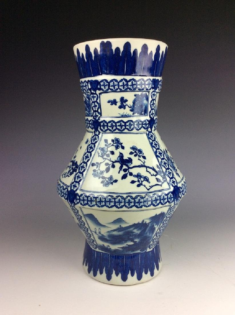 Chinese porcelain vase, blue & white glazed, decorated - 2