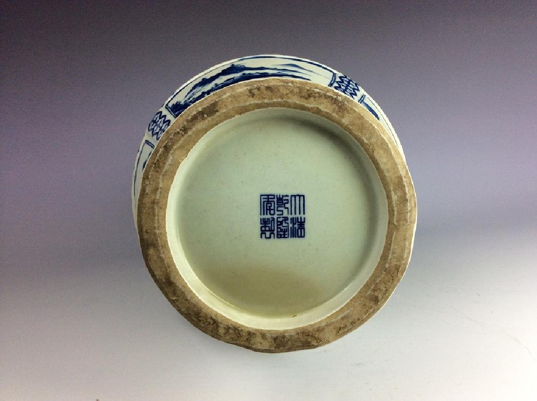 Chinese porcelain vase, blue & white glazed, decorated - 3