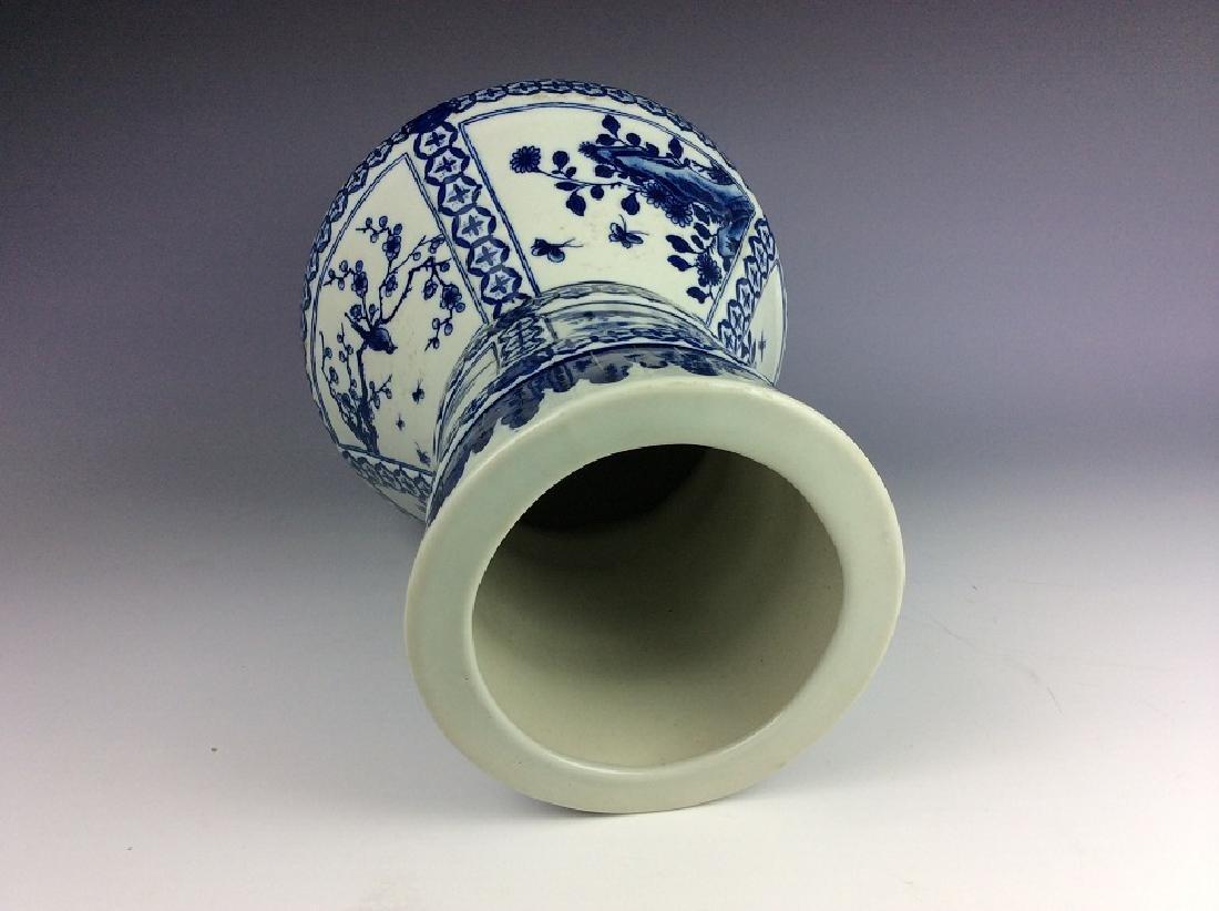 Chinese porcelain vase, blue & white glazed, decorated - 4