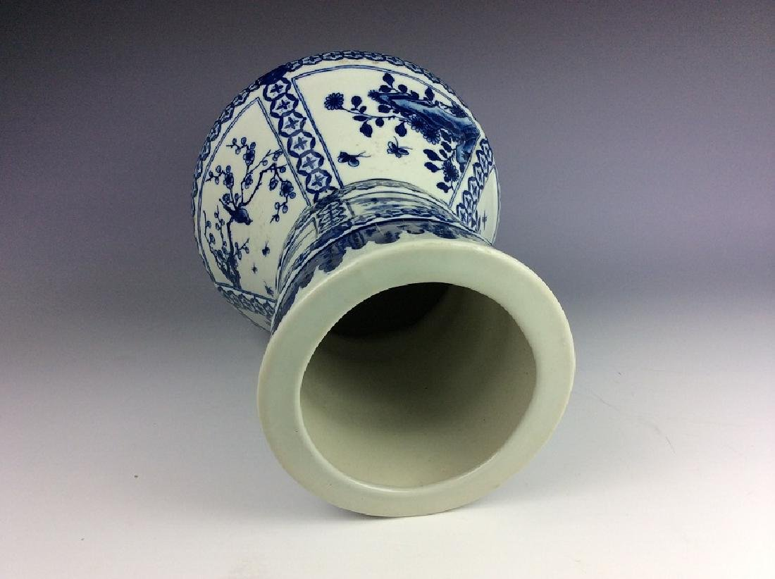 Chinese porcelain vase, blue & white glazed, decorated - 4