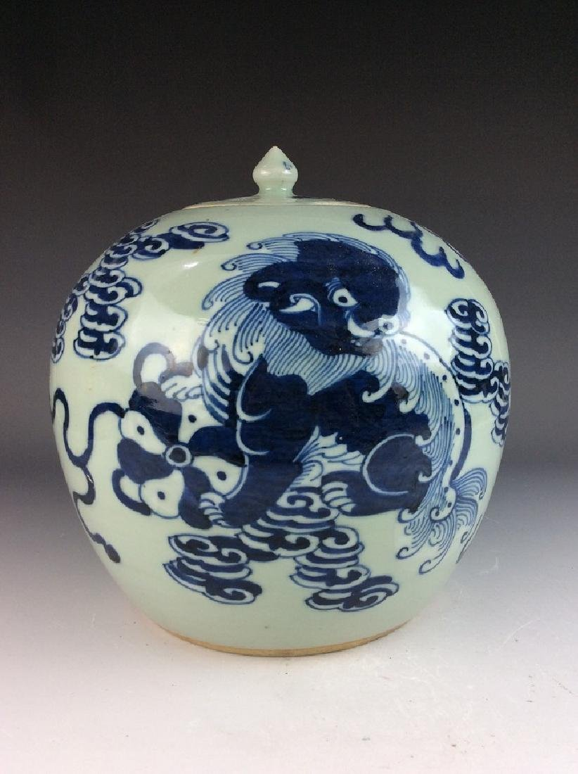 Chinese porcelain pot, blue & white on celedon glazed