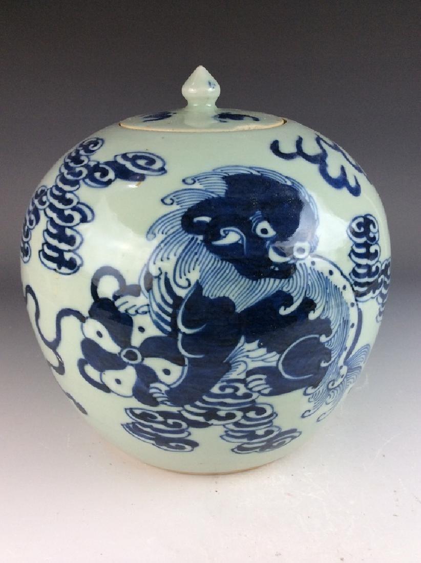 Chinese porcelain pot, blue & white on celedon glazed - 2