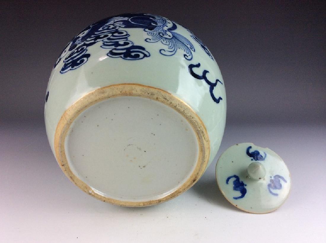 Chinese porcelain pot, blue & white on celedon glazed - 4