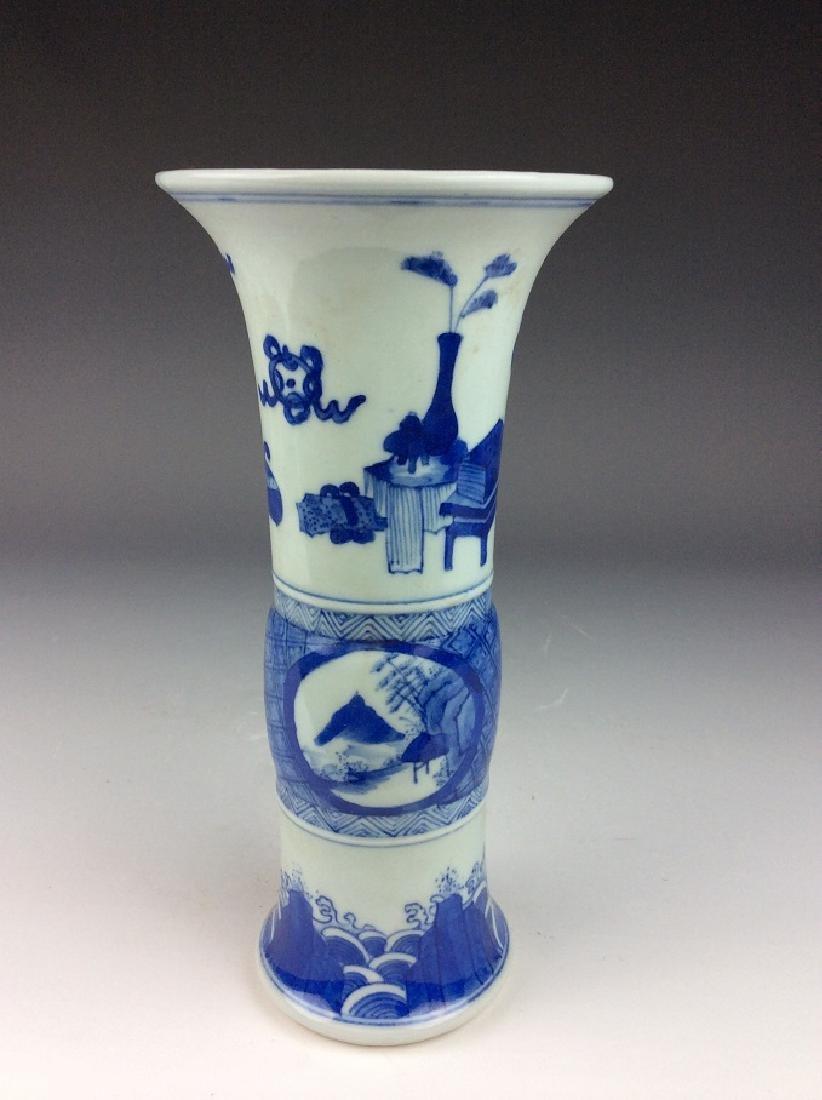 Chinese porcelain vase, blue & white glaze, mark - 2