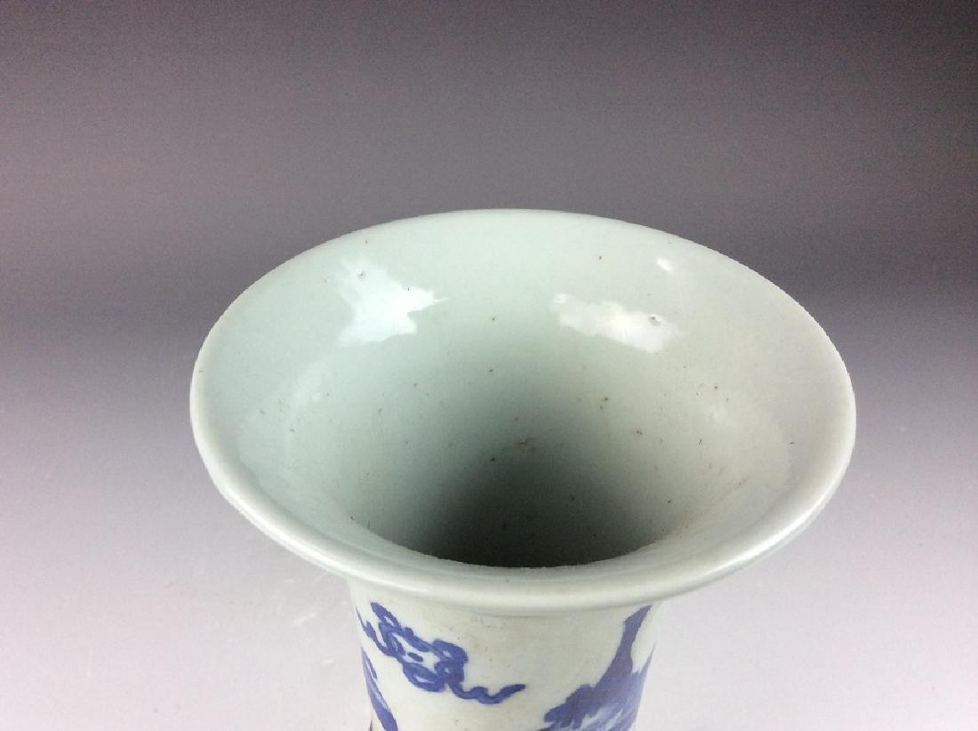 Chinese porcelain vase, blue & white glaze, mark - 4