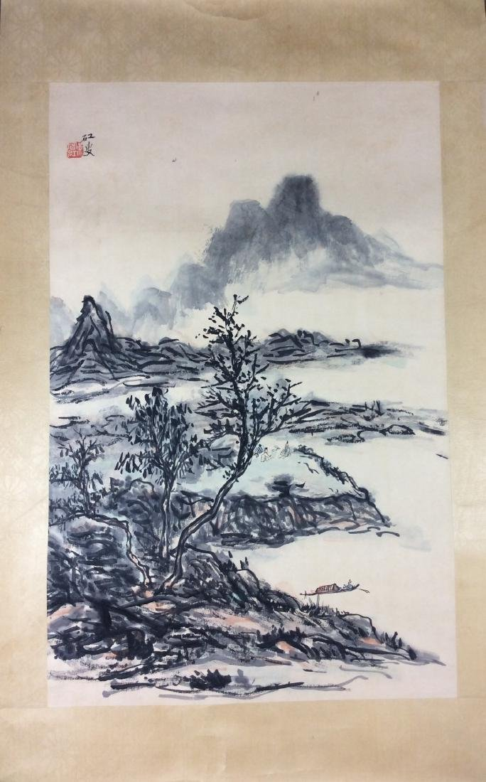 Chinese hand painted painting ink and color on paper - 2