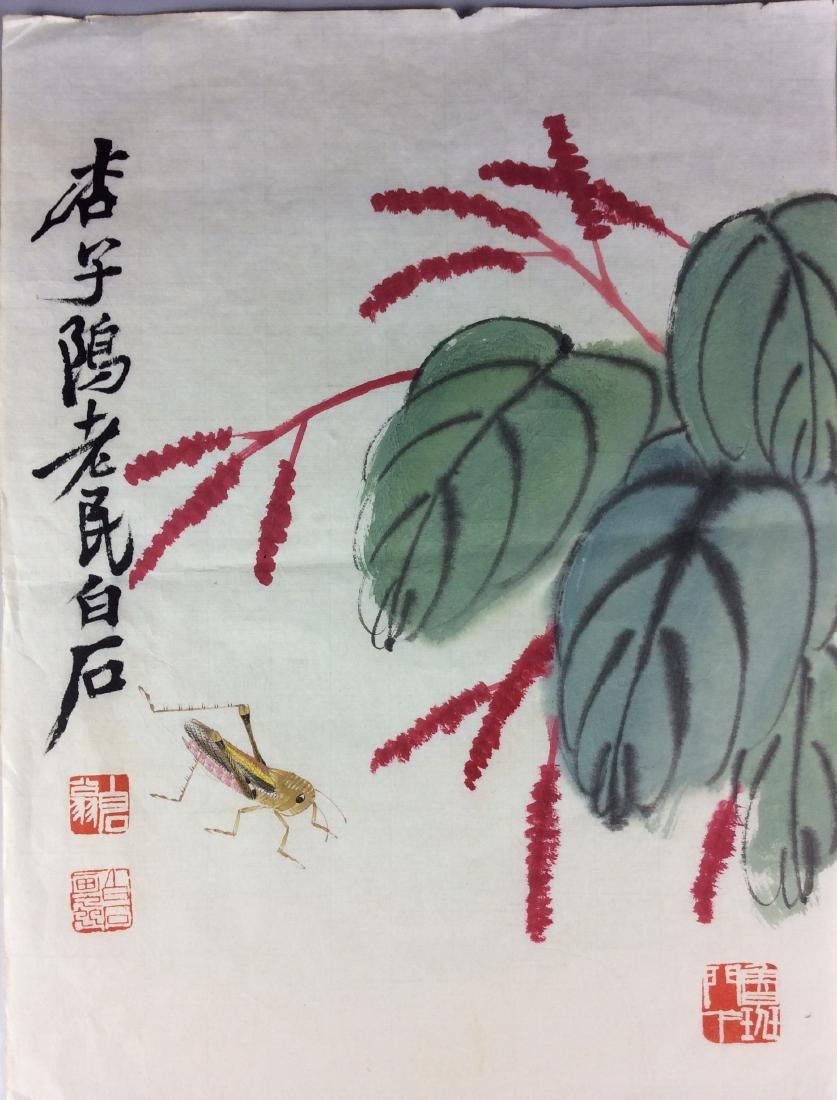 Chinese hand painted painting leaf, water color and ink
