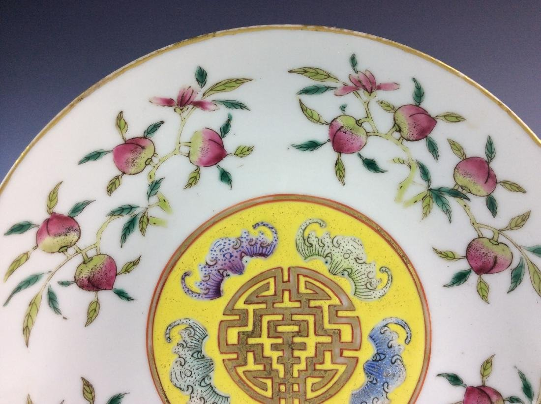Chinese famillie rose saucer with peach bat and mark - 2